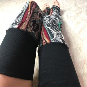 Handmade Brown & Green Knit Thigh High Leg Warmers